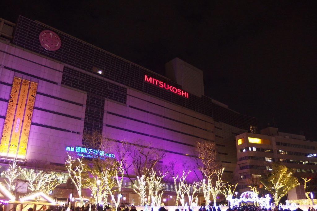 西鉄福岡駅中央口前のイルミネーション2014年