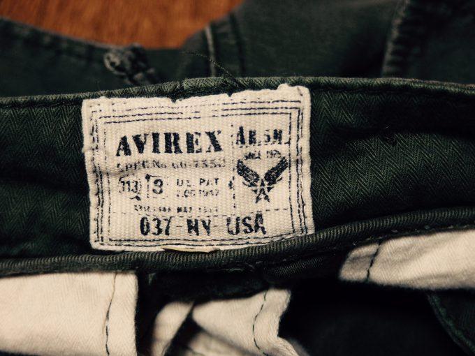 AVIREXアヴィレックス-ダメージ加工-カーゴパンツ-ラベル-画像処理「トランスファー」