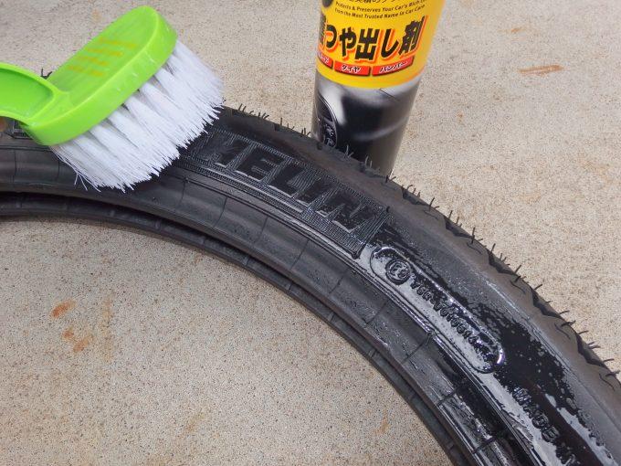 アーマーオールを新品タイヤに塗る